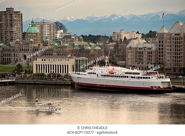 Inner Harbour, BC Parliament Buildings, Hotel Grand Pacific, Floattplane , MV Coho, Victoria, British Columbia, Canada