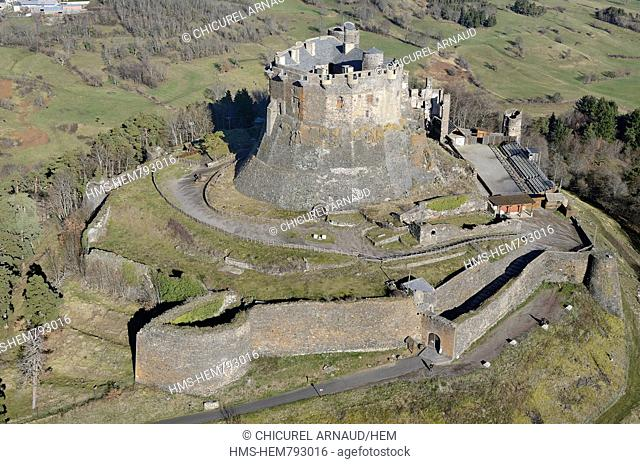 France, Puy-de-Dme, natural regional park of the Volcanoes of Auvergne, the castle of Murol aerial view