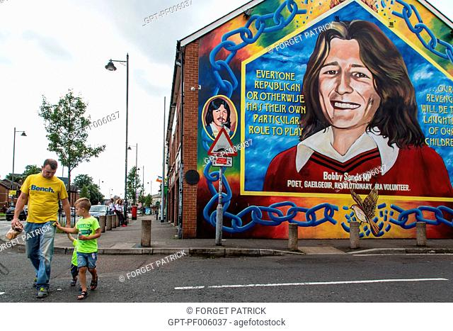 PAINTED MURAL OF BOBBY SANDS (1954-1981), REVOLUTIONARY POET, MEMBER OF THE IRA, MEMBER OF THE HOUSE OF COMMONS, DIED AS A MARTYR IN PRISON AFTER A 66-DAY...