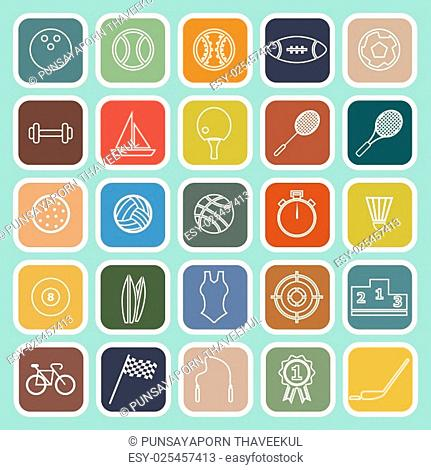 Sport line flat icons on green background, stock vector