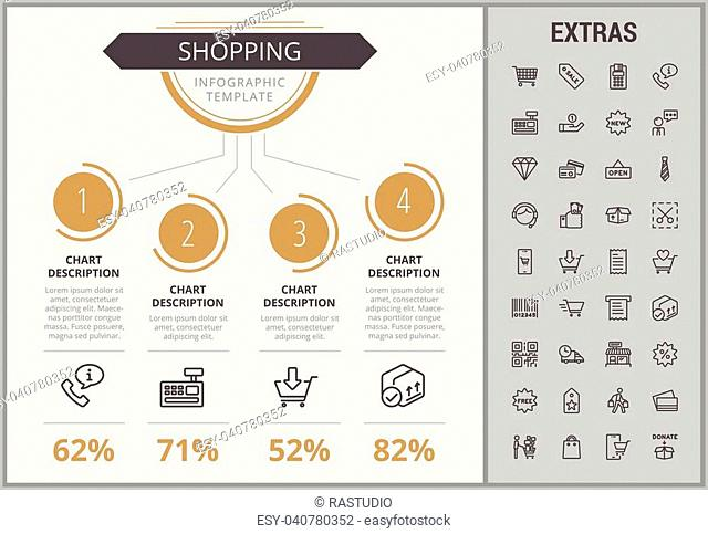 Shopping infographic template, elements and icons. Infograph includes numbered customizable charts, line icon set with shopping cart, online store, mobile shop