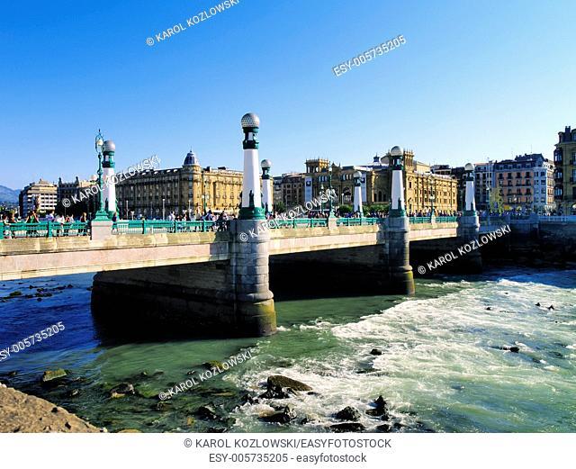 Zurriola Bridge in Donostia - San Sebastian, Basque Country, Spain