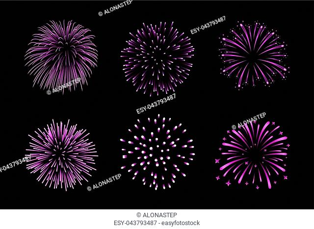 Beautiful purple fireworks set. Bright fireworks isolated black background. Light pink decoration fireworks for Christmas, New Year celebration