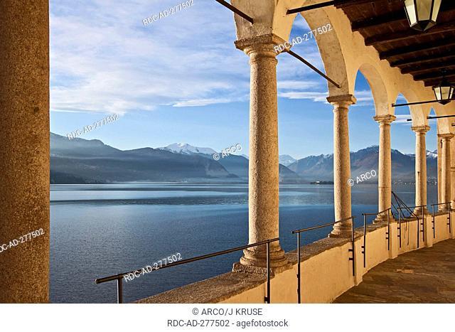Columns, abbey Santa Caterina del Sasso Ballaro, Lago Maggiore, Leggiuno, Lombardy, Province of Varese, Italy