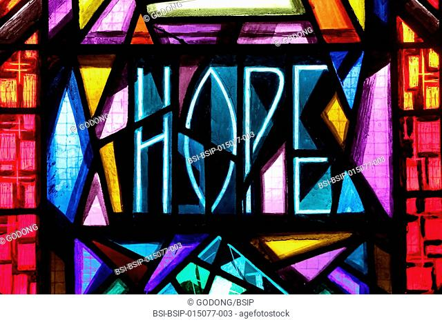 Holy Trinity Church. Geneva. Stained glass window. Hope