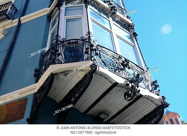 Detail of one of the enclosed balconies of Pablo Monguio's Casa Bayo or Casa de los Retales. Teruel, Aragón, Spain, Europe