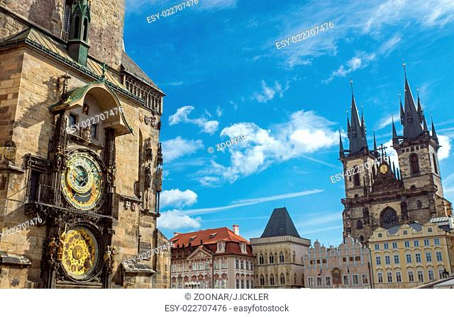 Astronomical clock and church in Prague