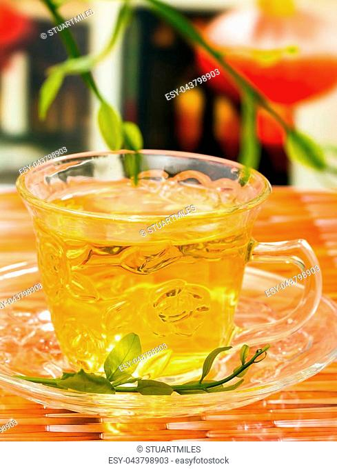 Green Chinese Tea Showing Wellness Drinks And Well