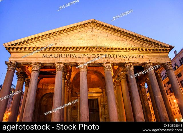 Detail of the granite Corinthian columns of the Pantheon - Rome, Italy