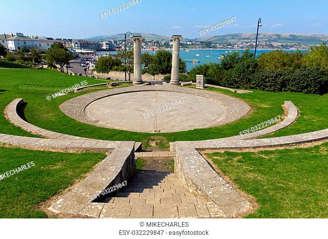 Swanage Dorset England UK Prince Albert Gardens with amphitheatre and park and a view over this popular south coast seaside town