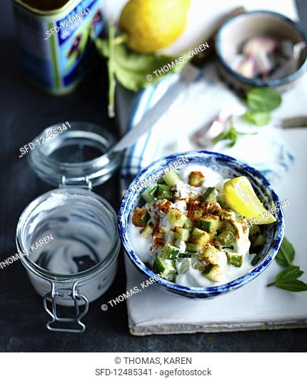 Tzatziki with cucumber, lemon, mint and garlic