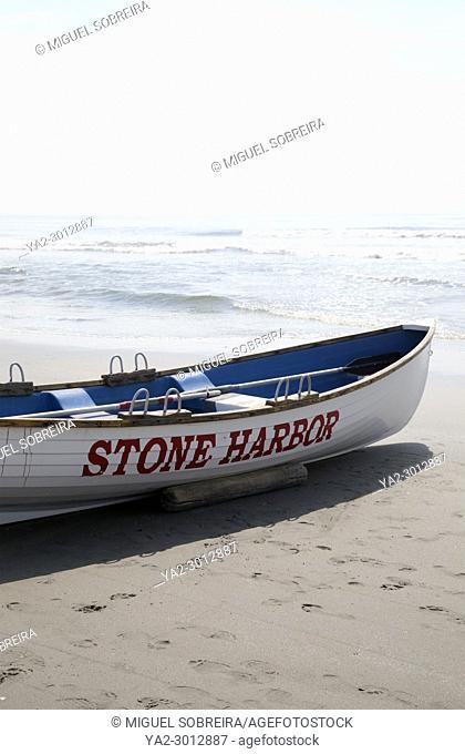 Stone Harbor Beach Lifeguard Boat in New Jersey - USA