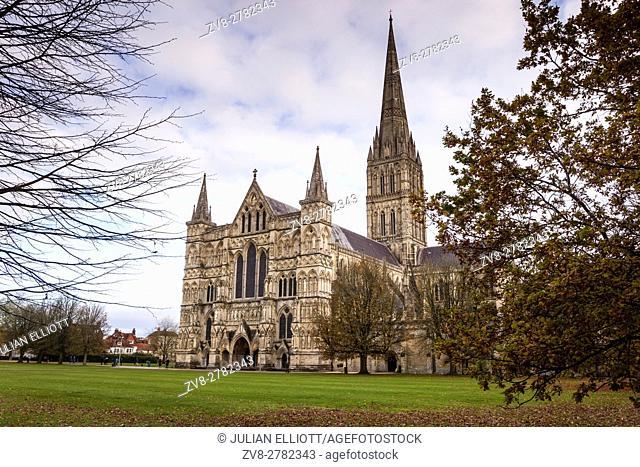 Salisbury cathedral in Wiltshire, England