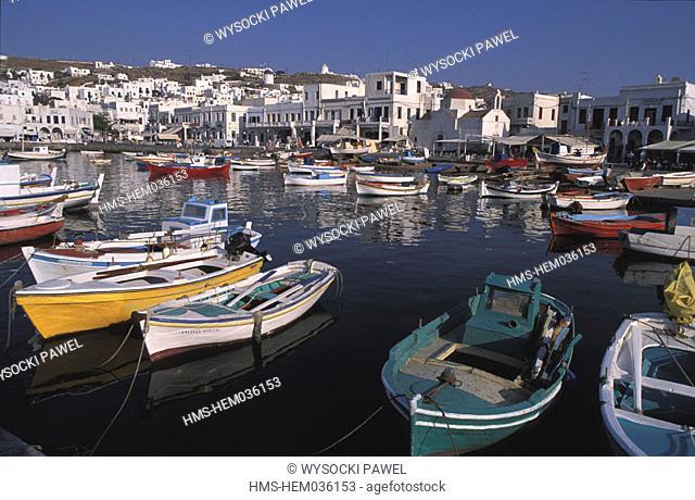 Greece, Cyclades islands, Mykonos island, the Mykonos village with the port