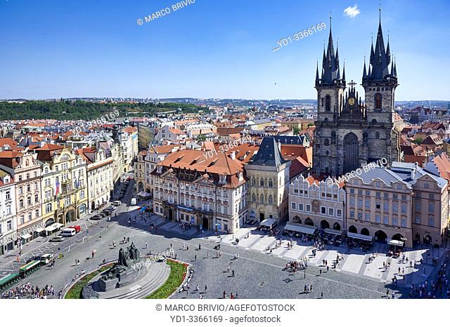 Aerial view of the Gothic Church of Our Lady before Tyn in Old Town Square