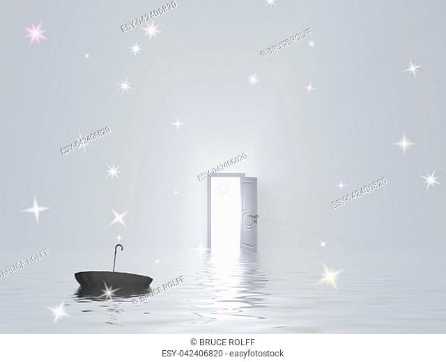 Umbrella floats in water in pure white room with open door
