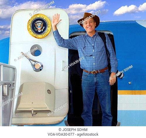 Photographer Joe Sohm posing with Air Force One on display at the Reagan Library, Simi Valley, CA