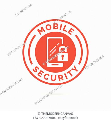 Mobile device security icon with padlock and smartphone symbol stamp. Vector illustration
