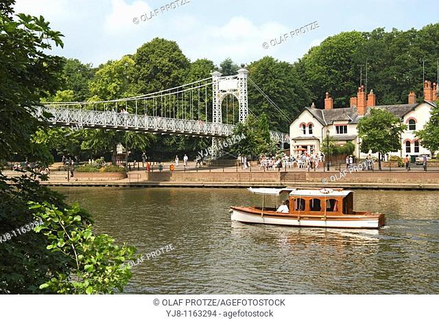 Queen's Park Footbridge across River Dee in Chester, Cheshire, North West England