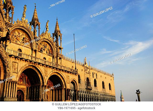 View of the facade of the St.Mark's Basilica at sunset time, Venice, Italy