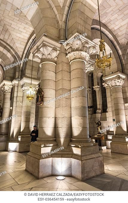 Interior of the crypt of famous touristic landmark Almudena Cathedral in Madrid, Spain