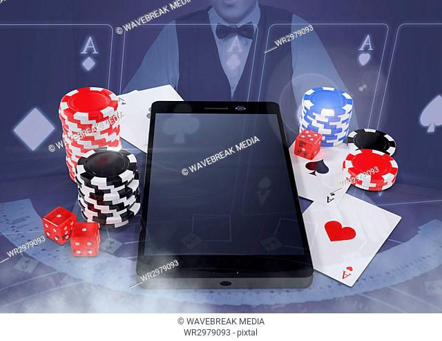 Phone with poker casino chips and playing cards with croupier and copy space