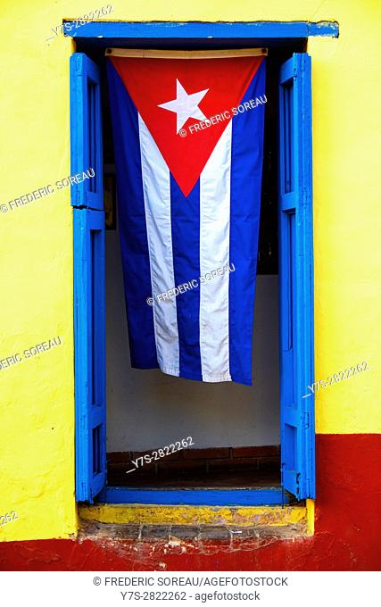 Cuban flag in Trinidad,Cuba