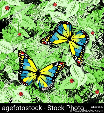 Blue and yellow butterflies design, with green foliage and ladybugs on the background. Illustrative art for children