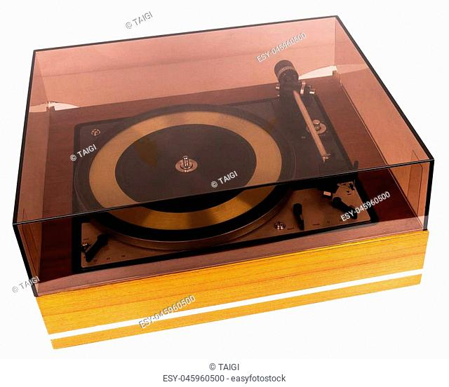 Vintage stereo turntable vinyl record player with a dust cover isolated on white background