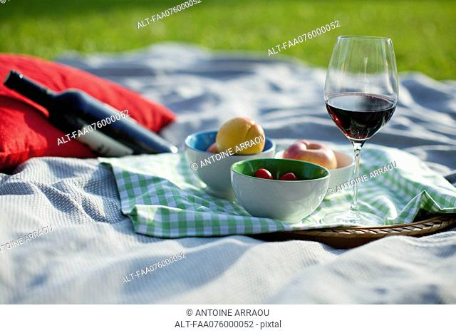 Food and wine on picnic blanket