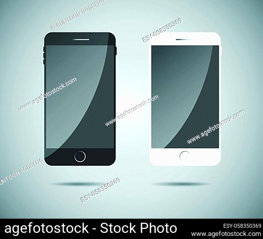Perfectly detailed modern smart phone isolation, Realistic Mobile icon vector illustration