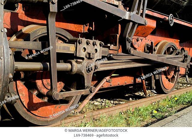 Steel wheels of historic harbour train  Museum of work  Harbour Hamburg  Germany
