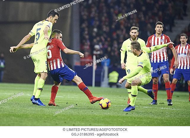Sergio Busquets (midfielder; Barcelona), Koke (midfielder; Atletico Madrid) before La Liga match between Atletico de Madrid and F.C
