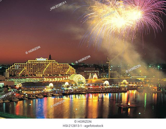 Australia, New South Wales, Sydney, Darling Harbour, Fireworks display