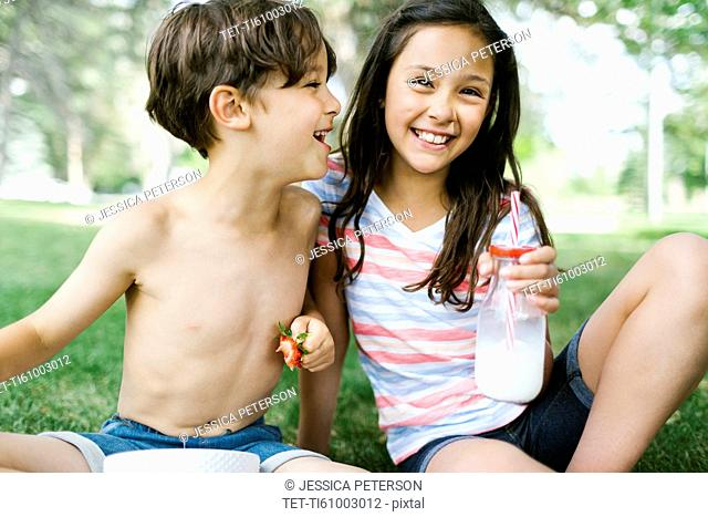 Portrait of sister ( 10-11 ) and brother (6-7 ) on picnic