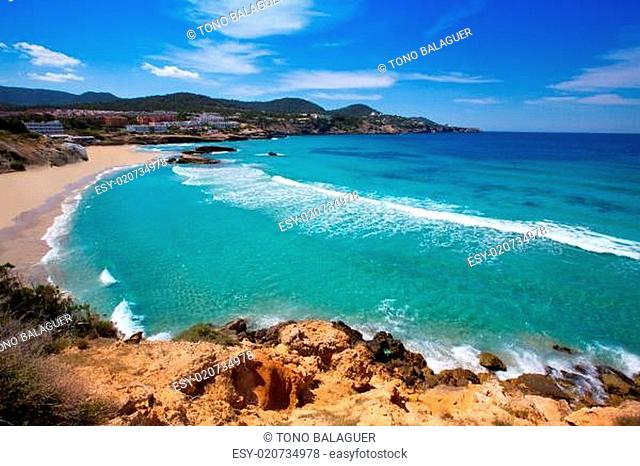 Cala Tarida in Ibiza beach at Balearic Islands