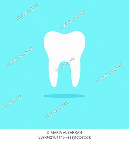 Tooth flat icon with shade on a blue background. Vector illustration