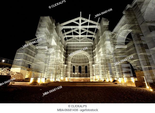 Ancient Siponto Basilica, artistic reconstruction of Edoardo Tresoldi, Apulia, Italy
