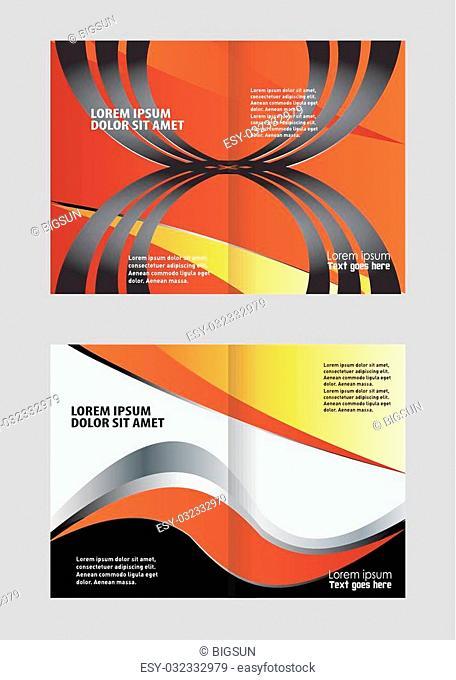 Vector empty bi-fold brochure print template