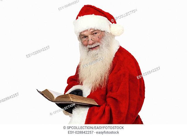 Santa Claus reading (isolated)