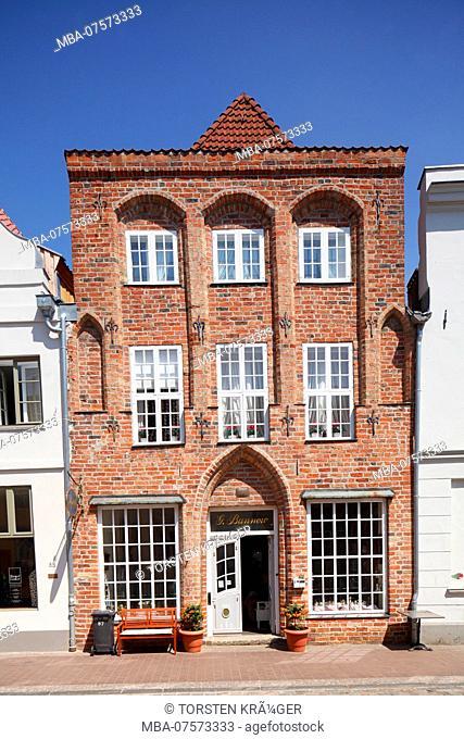 Historic house facade, Lübeck, Schleswig-Holstein, Germany, Europe