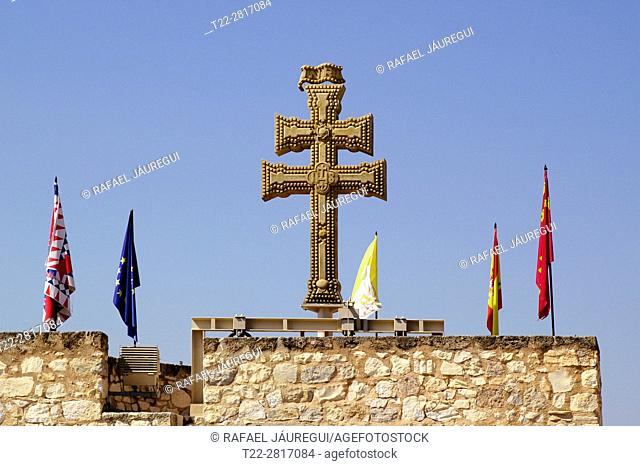 Caravaca de la Cruz (Murcia) Spain. Stone cross of The Basilica of the Blessed Mother and Vera Cruz