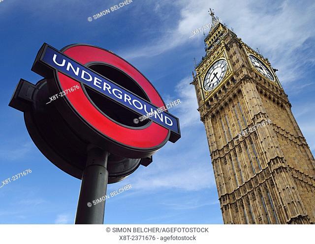 London, England. Underground Sign and Big Ben, Both Famous London Icons. United Kingdom