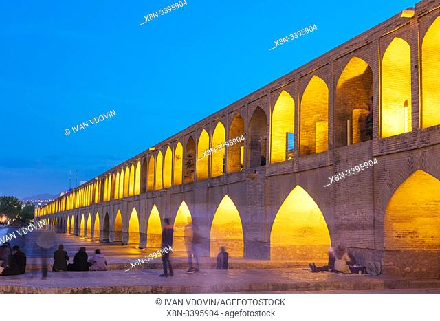 Si-o-se-pol, Allahverdi Khan Bridge at night, Zayanderud river, Isfahan, Isfahan Province, Iran