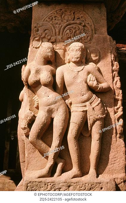 Pattadakal papanatha temple, c735 AD. Mithuna on porch