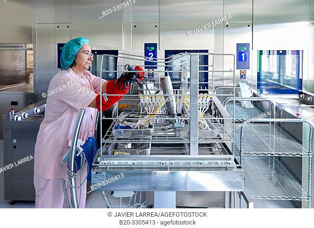 Cleaning of surgical material, Sterilization, Autoclave Cleaning, Hospital Donostia, San Sebastian, Gipuzkoa, Basque Country, Spain