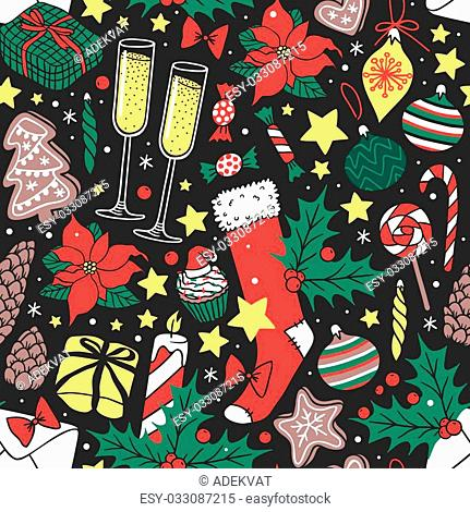 Vector background Christmas seamless pattern hand drawn style. Holiday wallpaper decoration Christmas seamless pattern. Merry christmas seamless pattern paper...