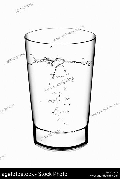 A glass of water and water splahes on white background