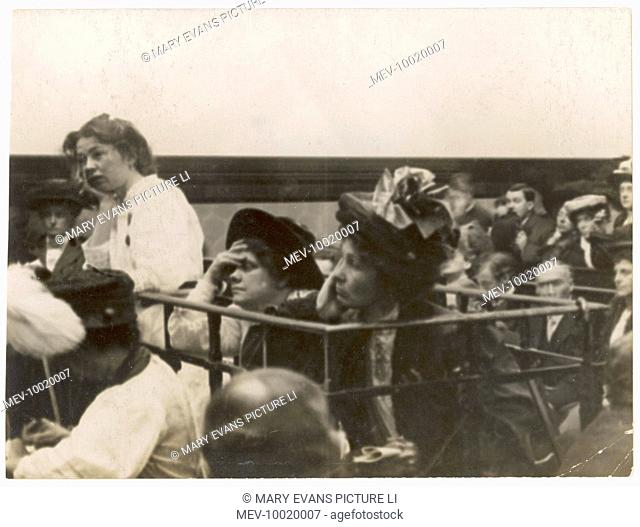 Christabel Pankhurst, Mrs Pankhurst and Flora Drummond at Bow Street Magistrate's Court during the 'Rush' trial