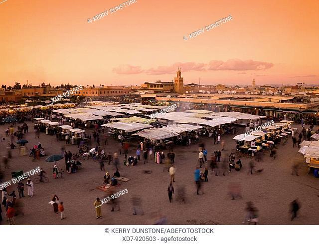 Morocco Marrakesh Place Djemaa el-Fna at dusk